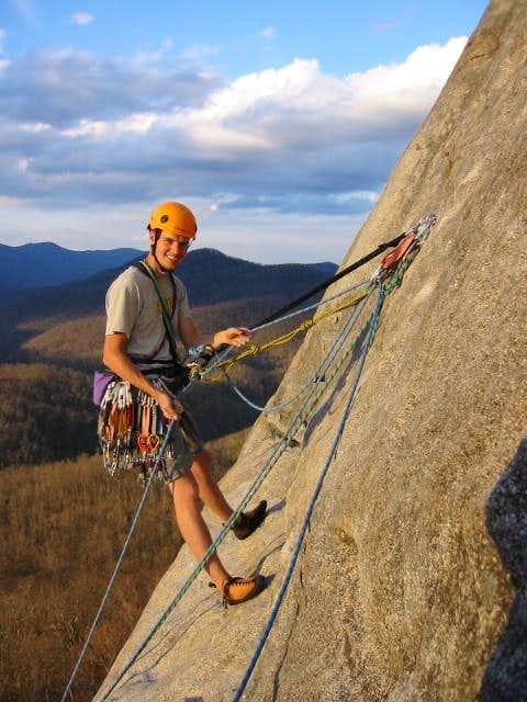 Myself belaying on the Nose