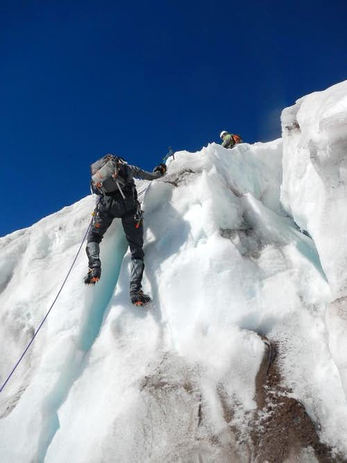 Max Heads up the Icefall