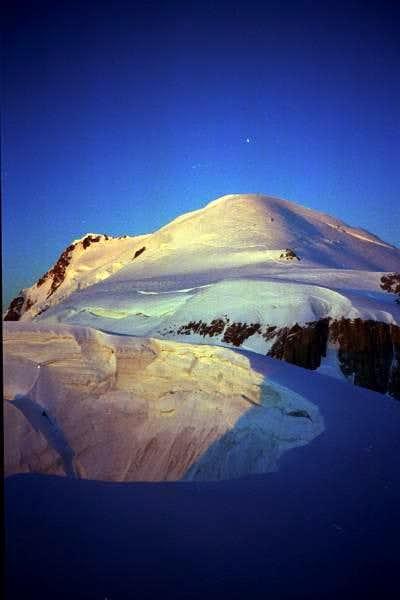 The sun rises on Mont Blanc,...