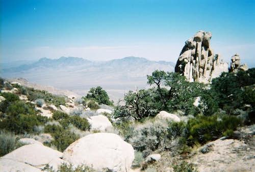 A rock formation near the top...