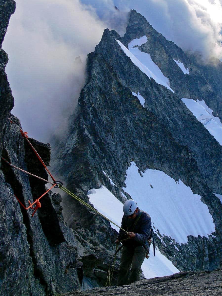 Rappelling Off Forbidden Peak