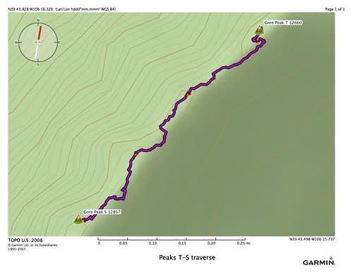 Peak T - S traverse route overview