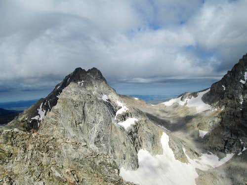 Cloudveil Dome and the South Teton seen from the summit of Nez Perce, with a storm approaching