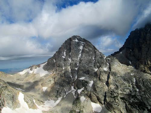 The Middle Teton seen from the summit of Nez Perce, with a storm approaching