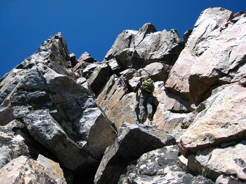Descending Granite West on the traverse