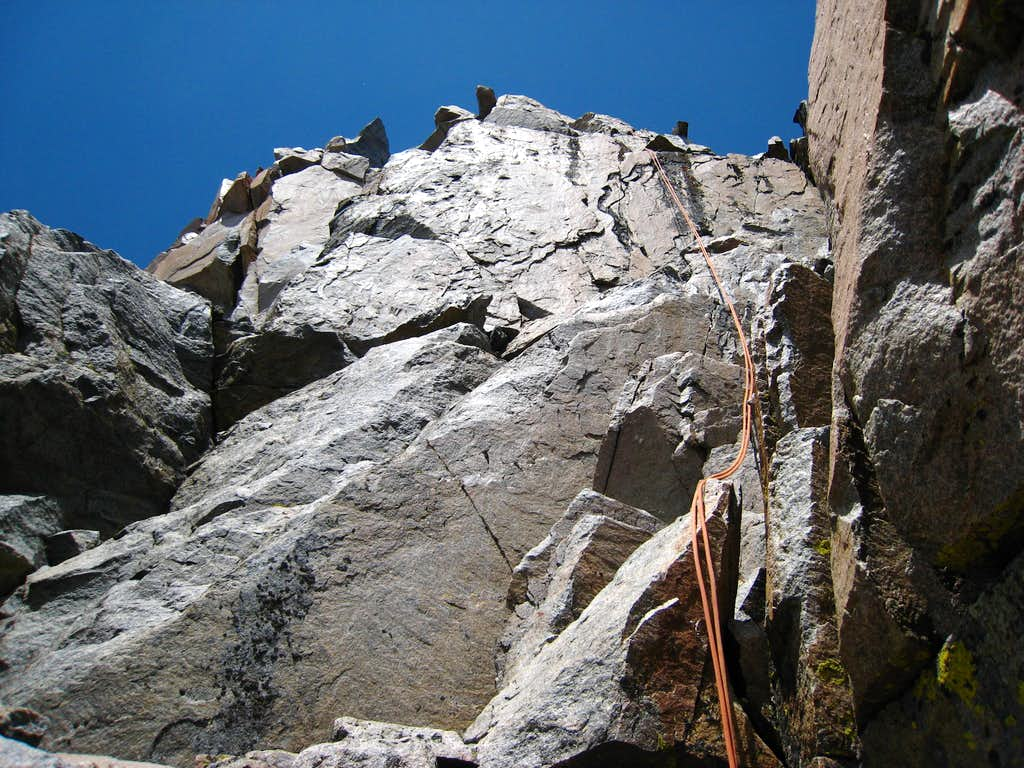 Making the rappel into the notch