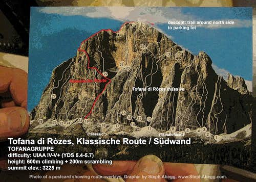 Route overlay for Tofana di Ròzes, Klassische Route (Dolomites)