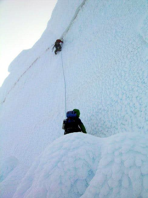 Edgar climbing the 'shrund...