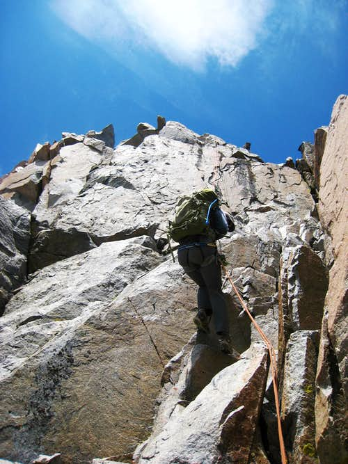 Rappelling into the notch