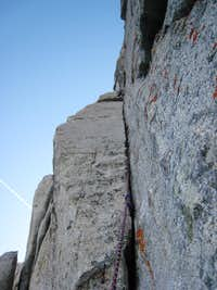 First pitch of Lowe Route (5.8) Lone Peak Cirque