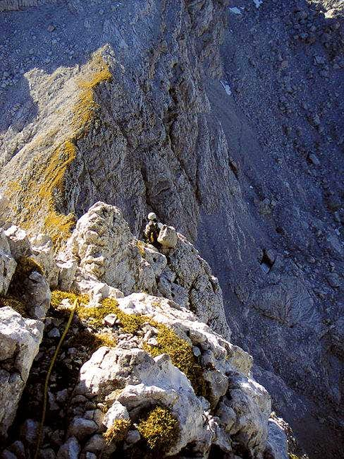 Climbing the SW ridge to...