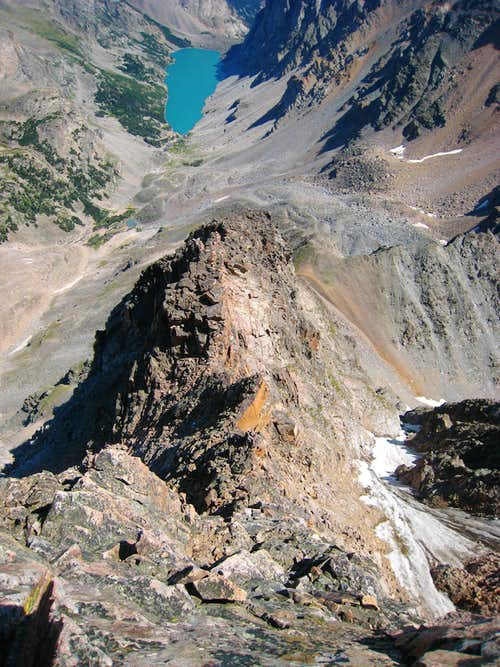 Looking down the NE Ridge from atop the large step