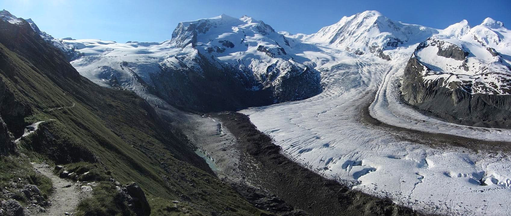 The Grenzgletscher meets the Gornergletscher