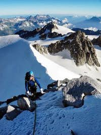 Approaching the Argentiere summit