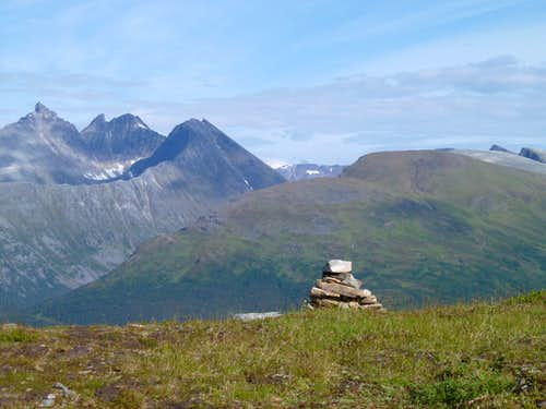 Hopeful Cairn on the southern approach to Tromsdalstind
