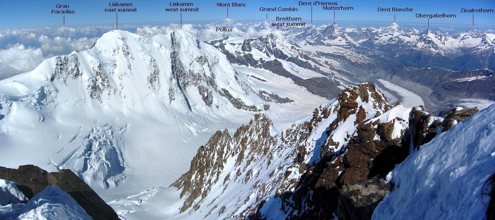 Annotated panorama from the Dufourspitze to the west