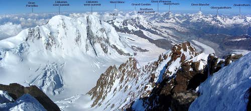 Annotated Dufourspitze summit panorama to the west