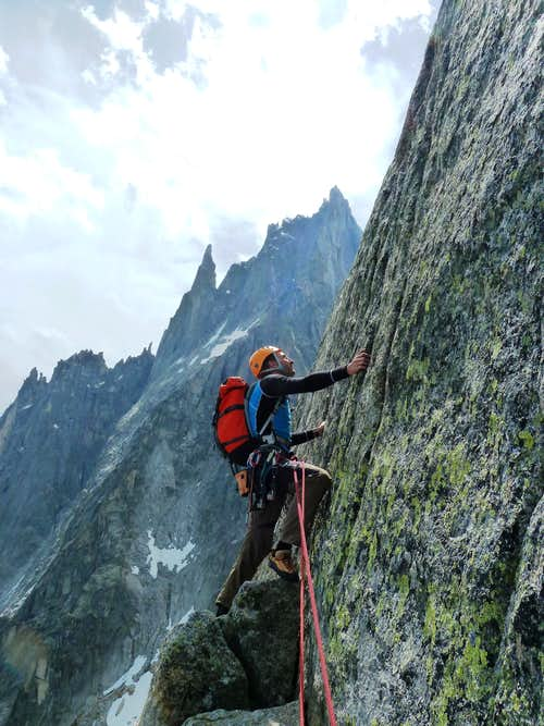 Last rope to the summit of Aiguille de l'M