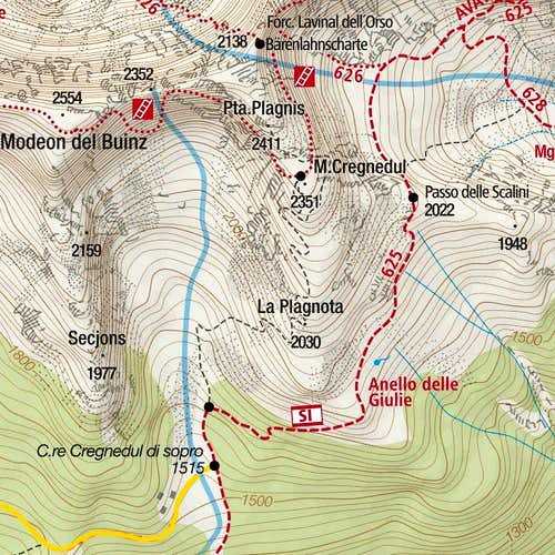 Monte Cregnedul and its paths