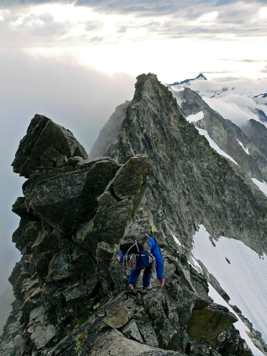 Racing Down the West Ridge of Forbidden Peak