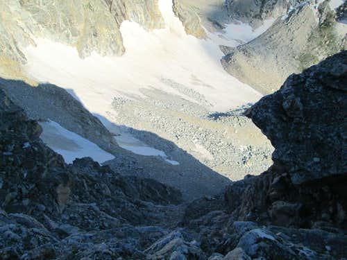 Looking down from high on the Northwest Face/Couloirs of Nez Perce