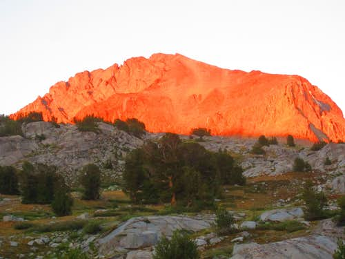 Mt Goddard in the evening alpenglow from Martha Lake
