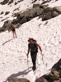 Jannie and Wilco on the snow below the Radschulter