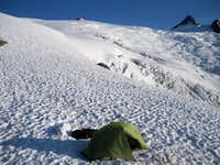 Camping on snow at the lower bivy site
