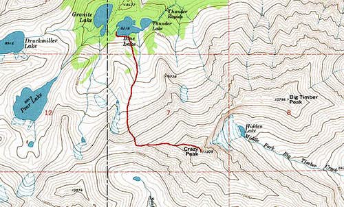 Route Map W Ridge Crazy Peak