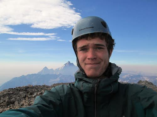 Myself alone on the summit of Mount Moran, August 19, 2013