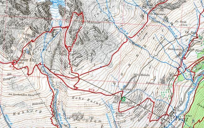 Map with the route in...
