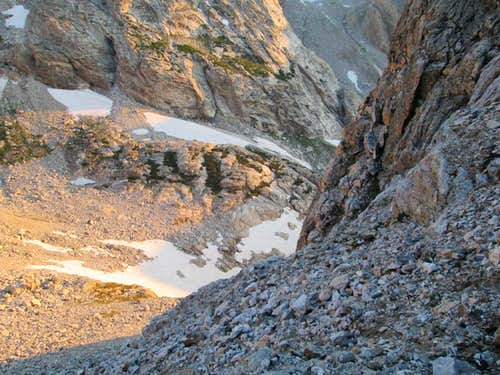 Looking down towards Garnet Canyon from the base of the Northwest Couloirs of Nez Perce