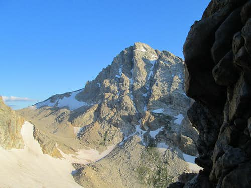The Middle Teton seen from partway up the Northwest Couloirs of Nez Perce