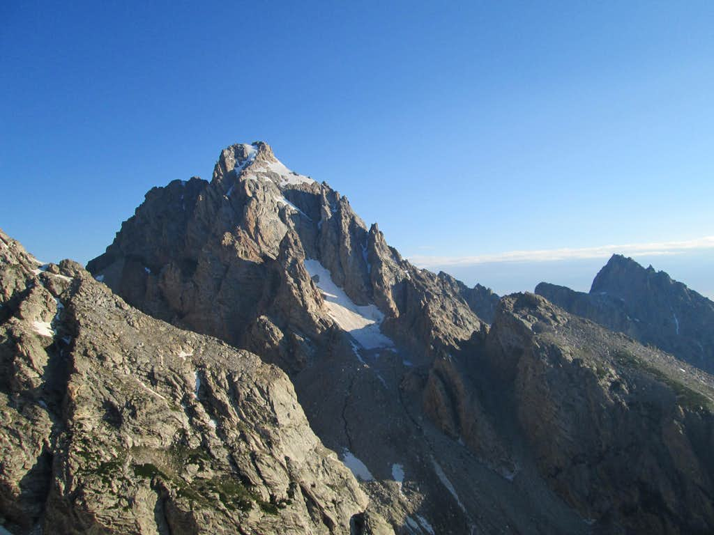 The Grand Teton seen from halfway up the Northwest Couloirs/Face of Nez Perce
