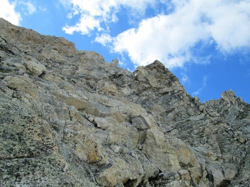 Looking up at the correct route on the Northwest Couloirs of Nez Perce on the descent