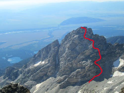 View of the Northwest Couloir Route on Nez Perce, from the summit of the Middle Teton