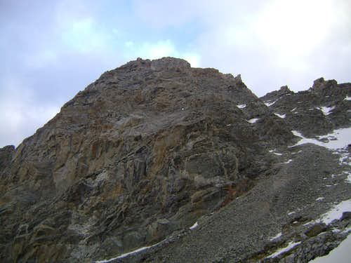 The northwest couloirs of Nez Perce seen in June