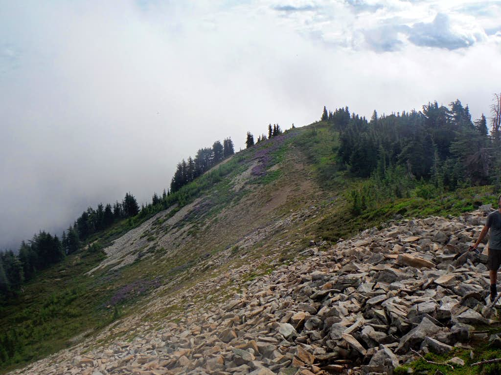 Looking down the ridge from the true summit