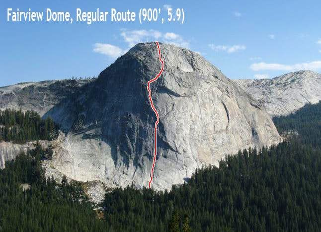 Fairview Dome, North Face aka Regular Route (in 5 pitches)