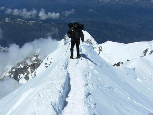 Mark covering the last few meters to the summit of Mont Blanc