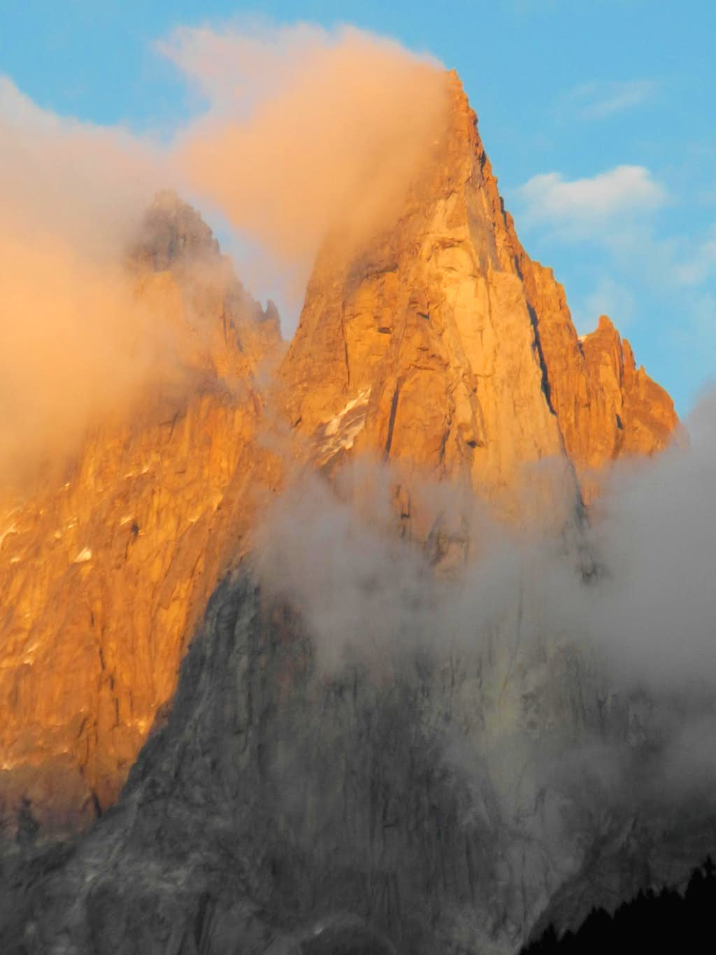 Petit Dru still shining in the sunset