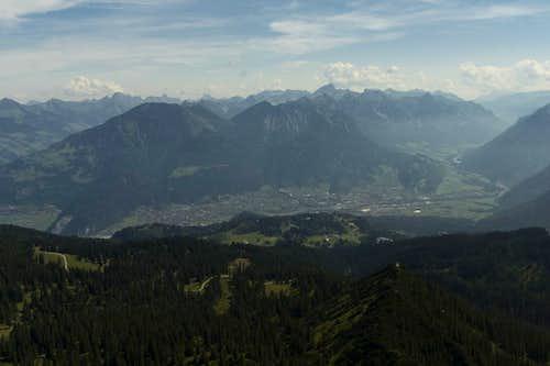 The city of Bludenz with Lechquellengebirge
