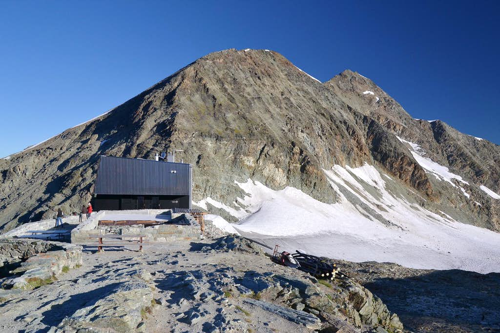 The new Tracuit Hut (completed in 2013) and Les Diablons