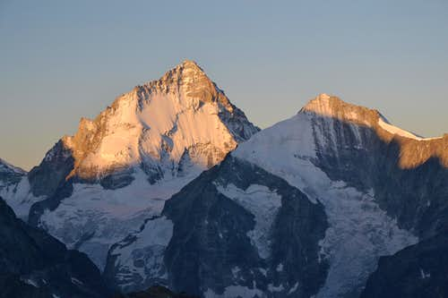 Early morning pink on Dent Blanche and Grand Cornier