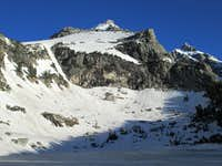 Disappointment Peak seen from across frozen Amphitheater Lake