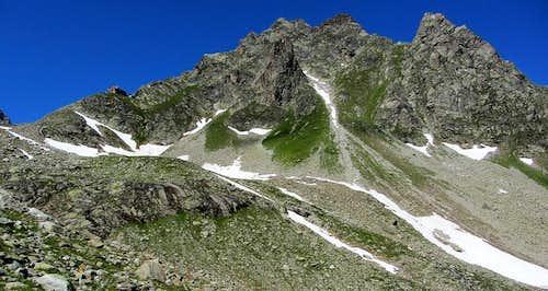 Kleinlitzner (2783m) and the Saarbrücker Hütte from the east