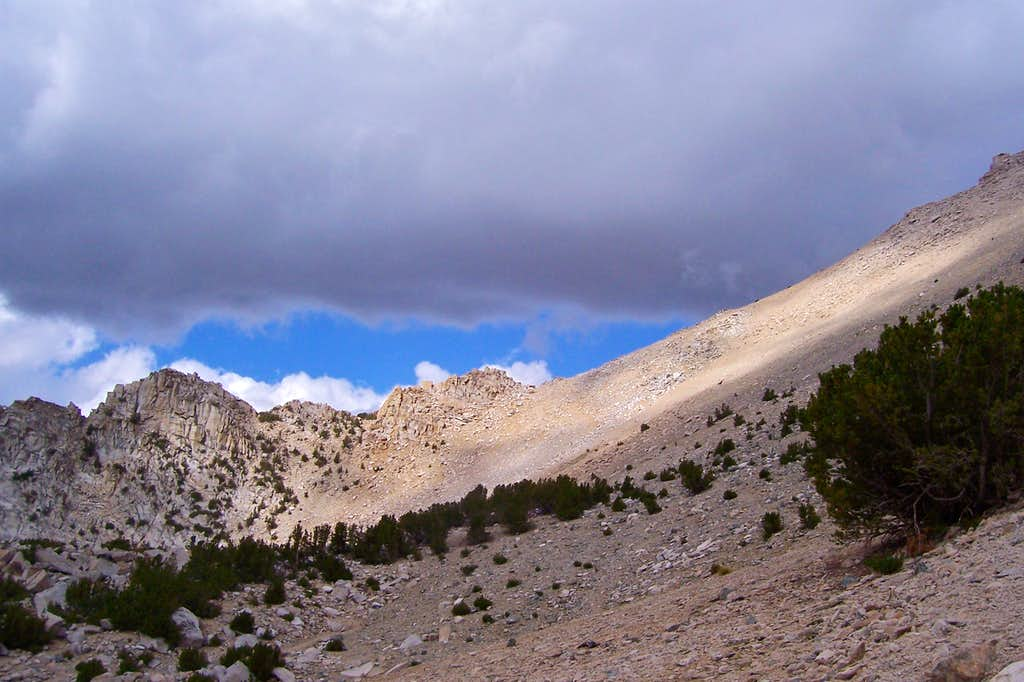 Ominous clouds over Kearsarge Pass