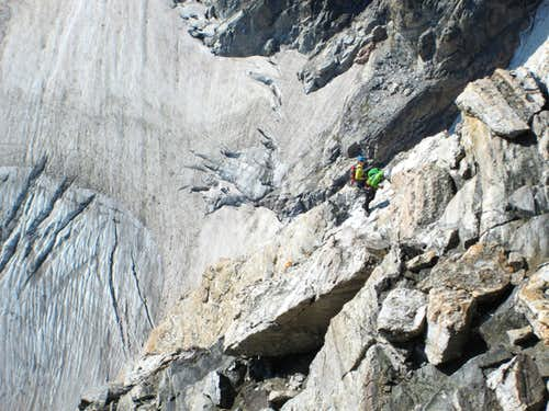 Climbers on the Upper Exum Ridge of the Grand Teton, above the Friction pitch