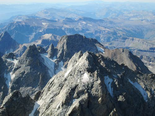 The Middle Teton and South Teton seen from the Upper Exum Ridge of the Grand Teton