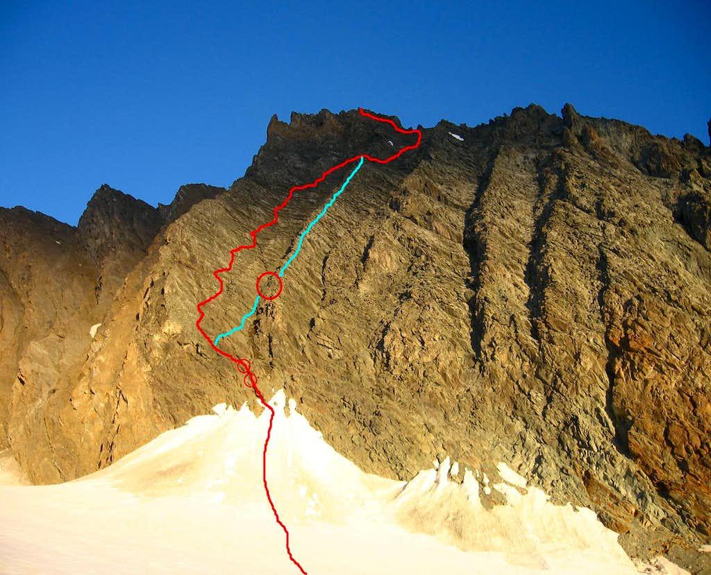 SE face - normal route from bivouac Gratton